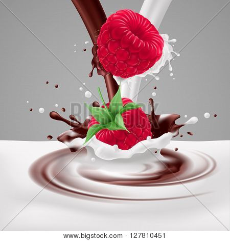 Appetizing raspberries falling into milk and chocolate mix