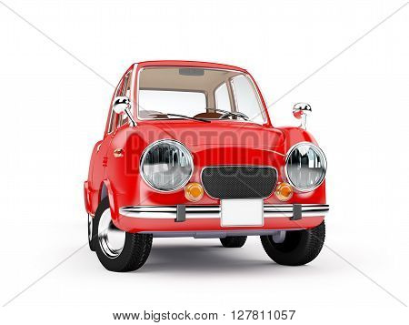 retro car red in 60s style isolated on a white background. 3d illustration