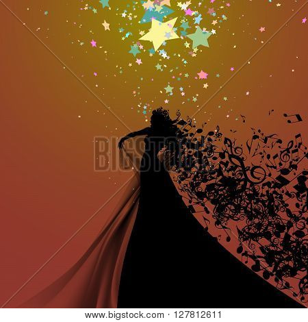 Silhouette of Opera Singer with Hair Like Musical Notes. Vector Illustration. Opera Singer Silhouette on White Background.