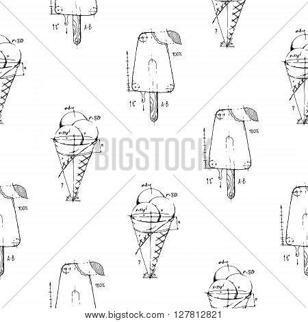 Ice cream. Hand drawn stock illustration. Seamless background pattern