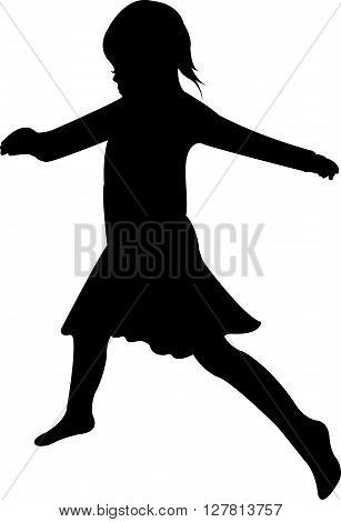 a dancing child, black color silhouette vector