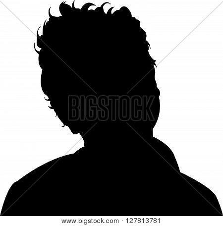 a child head black color silhouette vector