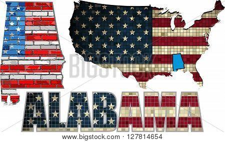 USA state of Alabama on a brick wall - Illustration, The flag of the state of Alabama on brick textured background,  Alabama Flag painted on brick wall, Font with the United States flag,  Alabama map on a brick wall