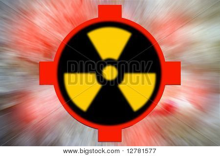 abstract scene as glow background with sign radiation danger poster