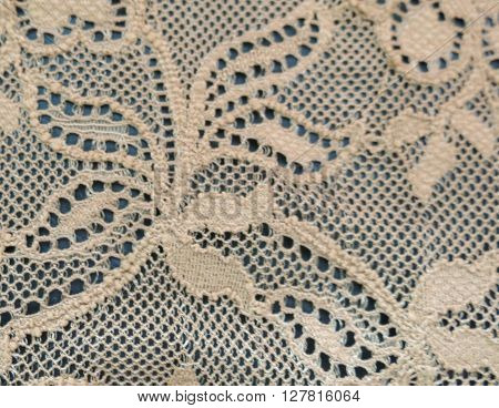 White or ecru floral lace band texture
