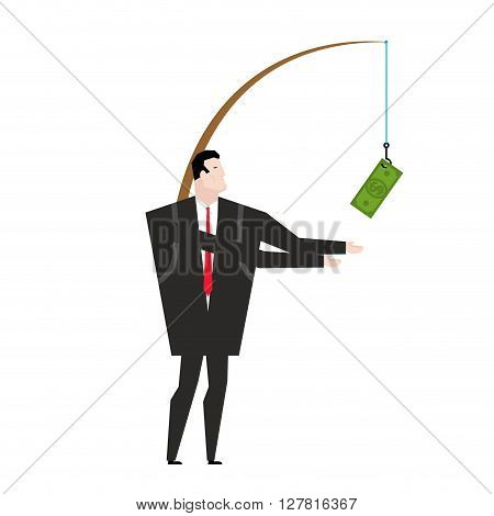 Financial Incentive For Employee. Fishing Rod With Dollar. Motivation For Managers. Monetary