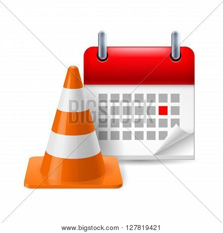 Traffic cone and calendar with marked day on white background