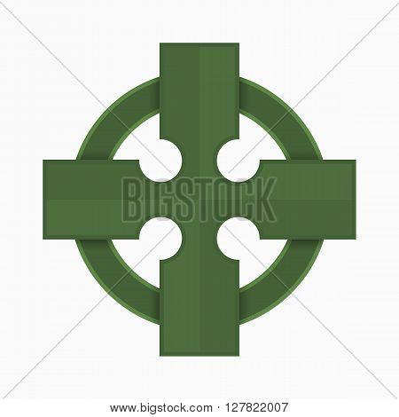 Green Celtic cross vector illustration, traditional symbol