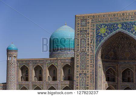 Details Of Facade Mosaic Of Madrasah Tilla-kari On Registan Square, Samarkand, Uzbekistan