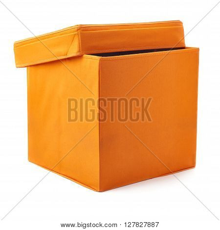 Orange foot stool ottoman pouffe over isolated white background
