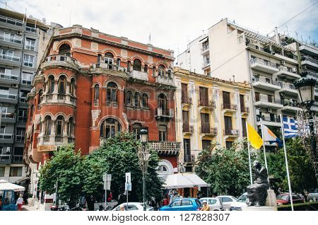 THESSALONIKI, GREECE - MAY 27, 2015: Red house or Mansion Longos in Hagia Sophia Square. Architecture Art Nouveau in Thessaloniki