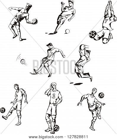 Vector set of soccer or football sportsmen players.