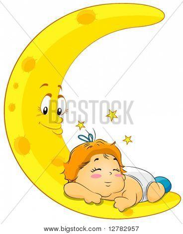 Baby Sleeping on Moon - Vector