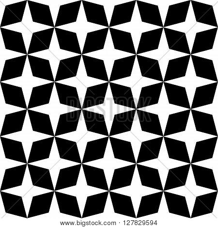 Black and white mosaic moroccan zellige seamless. vector illustration poster