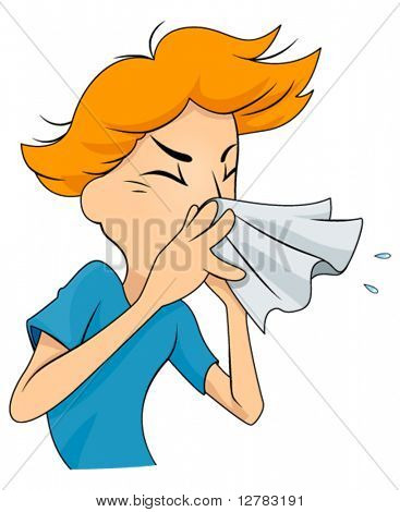 Man Sneezing - Vector