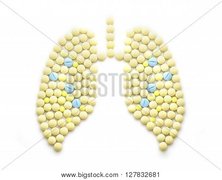 Creative medicine and healthcare concept made of drugs and pills, in the shape of  human lungs.