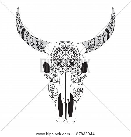Hand Drawn Decorated Cow Skull With Mandala Isolated On White Boho Style Image For