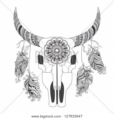 Hand Drawn Decorated Cow Skull With Mandala And Feathers Isolated On White Boho Style