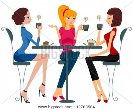 Women drinking Coffee - Vector