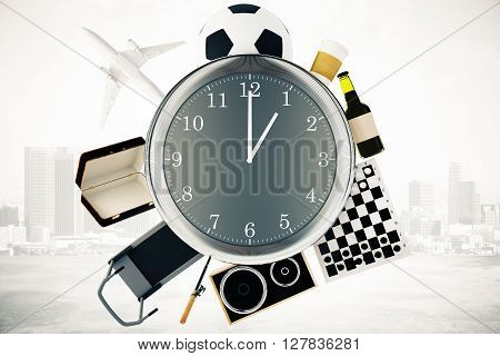 Various items such as treadmill chessboard coffee football and airplane around large clock on misty city background. Time management concept. 3D Rendering