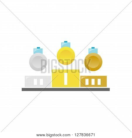Winners podium. Gold, silver and bronze medals on the pedestal. Flat design illustration. Pedestal isolated on white background - stock vector