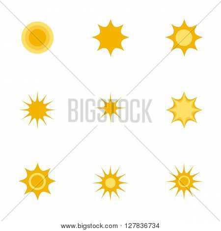 Set of sun icons on white background. Icons with flat design elements of sun. Modern vector logo pictogram collection concept - stock vector