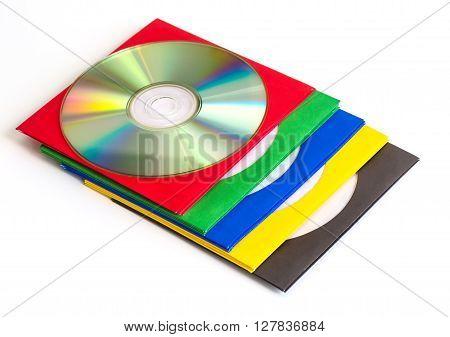 CDs / DVD envelopes for disks on white background technologies
