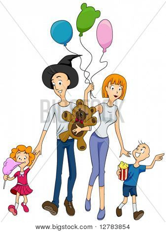 Family at the Amusement Park - Vector