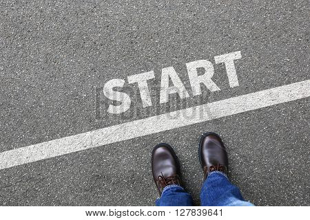 Start starting running race begin beginning businessman business man concept career goals motivation vision poster