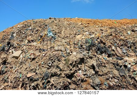 Household and industrial garbage contaminates soil and groundwater at Bali's largest landfill site in Suwung Bali Indonesia. The site is vulnerable to leachate infiltration and tidal invasion.