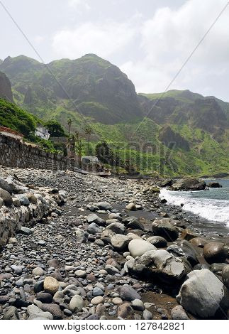 Black San Beach With Rocks