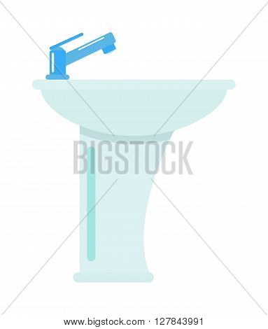 Ceramic bathroom washbasin isolated on white background hygiene faucet sink vector icon. Washbasin isolated faucet and sink washbasin isolated. Domestic ceramic bath washbasin isolated.