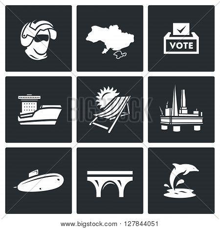 Vector Set of Crimea Icons. Soldier, Peninsula, Voting, Ferry, Resort, Sea Oil Rig, Submarine, Bridge, Dolphin.