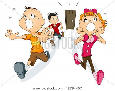 Scared Children running away from the door - Vector