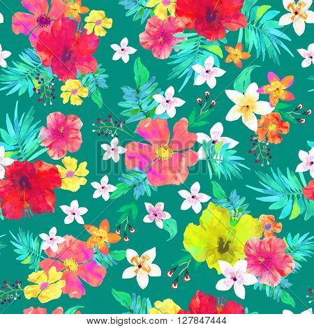 Seamless floral background. Tropical colorful pattern. Isolated beautiful flowers and leaves drawn watercolor on green background. Vector illustration.