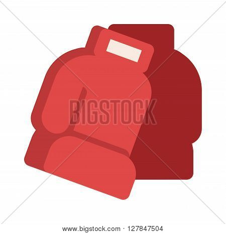 Pair of red leather boxing gloves isolated on white punch equipment protection vector. Boxing red gloves punch equipment and protection boxing red gloves. Boxing red gloves fight competition.