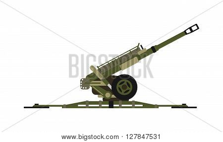 Air defense gun missiles pointing to the sky army war rocket vector. Air defense gun armed sky rocket launcher and air defense destruction danger gun. Aggression vehicle air defense gun.