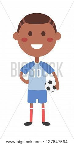 Cute boy is holding football ball made of genuine leather. Young football boy and soccer ball. Young football boy kid sport game. Young football boy happy competition little activity.