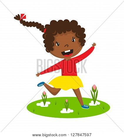 Cute running black afro girl with curly frizzy hair on green grass vector character illustration. Afro girl running young female happy kid and afro girl running training sport runner play game.