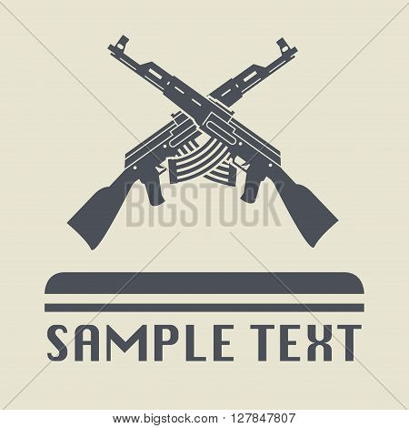 Assault rifle icon or sign, vector illustration