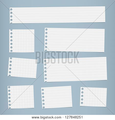 Pieces of cut white squared, lined notebook paper are stuck on blue background.