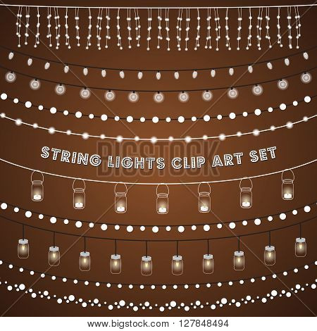 Rustic String Lights Set - Set of glowing string lights on a rustic brown background. EPS 10 with transparency.