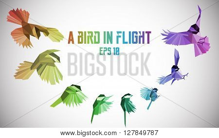 Rainbow bird in motion. Low-poly. Vector illustration. Eps 10