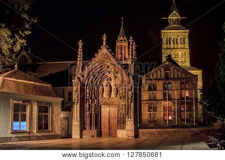 Maastricht, Netherlands - May 15: There is the entrance to the Basilica of Saint Servatius; in the background is visible the bell tower of the Church of St. John May 15, 2013 in Maastricht, Netherlands.