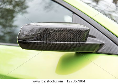 Kevlar wing mirror on the sports car.