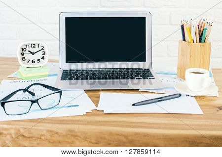 Black Laptop And Glasses Front