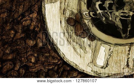 vintage abstract flat lay coffee poster drawing hipster style
