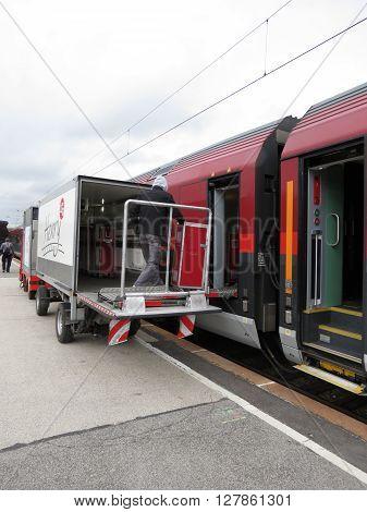 VIENNA AUSTRIA - CIRCA MAY 2014: A train on railroad railway for mass transit public transport