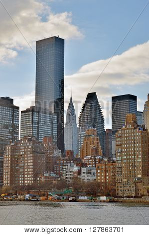 New York City, USA - January 03, 2016: View of the Midtown Manhattan from Roosevelt Island.