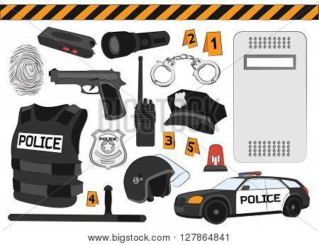 Policeman, police department, police uniforms, police car. Police. Safety concept Vector set